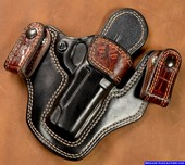 Burgundy Crocodile Trim M-11 concealed carry gun holster