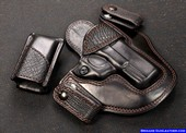 Custom gun holster for a Glock Pistol Black Shark Trim Skin