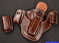 M-11 Ultimate Concealed Carry Gun Holster. Cordovan Brown leather/Anitque White Thread. 4