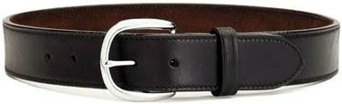 Black Leather Belt for dress or concealed carry use.  Single row thread and double thickness leather construction.