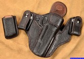 Black Full Shark Hide Leather IWB Gun Holster with matching mag pouch for a Wilson Combat 1911 Pistol