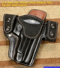 Custom holster finished in stingray leather for a Sig Pistol, good for concealed carry.