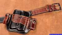 Custom Inside Waistband Leather Mag Pouch with Crocodile Belt
